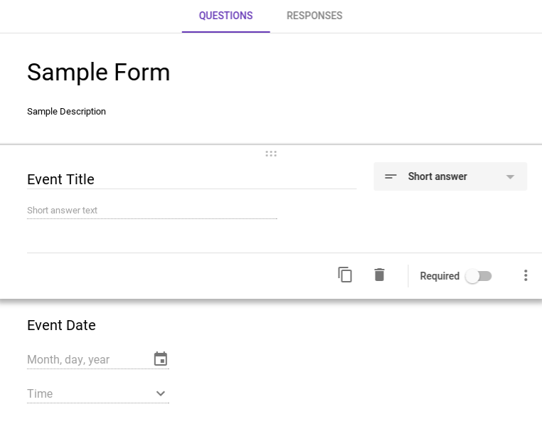 How to create an event from a google form submission help center once the the event title and date have been created in the form click on the settings cog wheel in the top right corner to see who will be able to respond ccuart Gallery